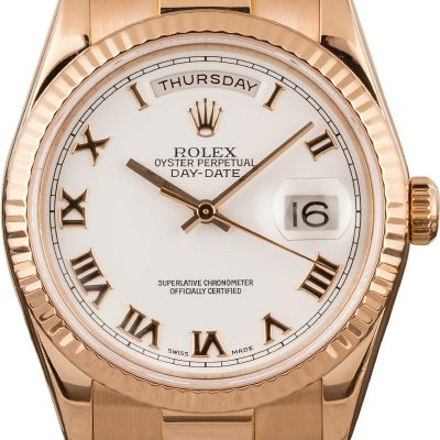 Mens Rolex President 18k Rose Gold Diamond Dial 118235