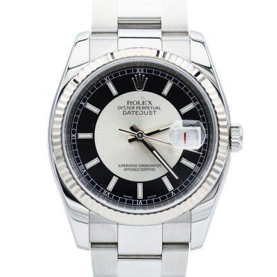 Rolex Datejust 116234 uomini quadrante nero e movimento automatico argento